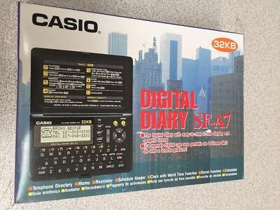 Casio SF-A7 Digital Diary 32kb 3-Line LCD Calculator MEMO Directory SECRET - Lcd Directory