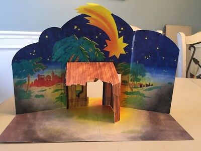 Playmobil Nativity Cardboard Background Stable Shooting Star