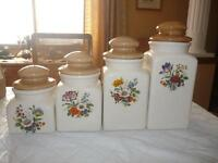 Four Ceramic Kitchen Cannisters -Nice design - Great Condition