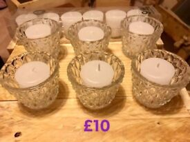 6 Glass Candle T-Light Holders with all 12 Candles included - 9 hour candles