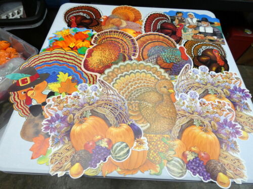 Vintage 1980s Thanksgiving Die Cut Cardboard Decorations Lot
