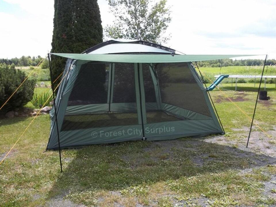 New large 12x12 yanes screen house gazebo tent with rain for Camping outdoor kuche