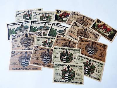 kleiner Posten Notgeld  BALLENSTEDT Harz  1921  Notgeldscheine X104