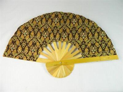 Handheld Fan - Folding Bamboo Fan - Thai Leaf Fabric - Brown