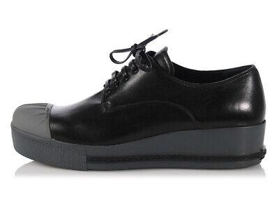 New MIU MIU Black & Gray Leather Cap Toe Platform Sneakers Shoes, Size 41 10.5