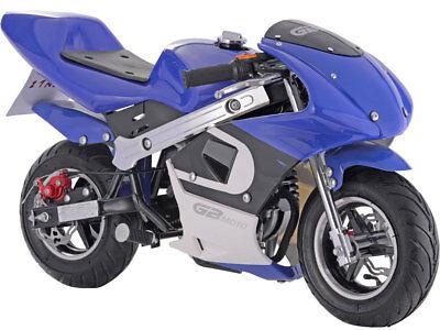 Mototec Gbmoto Gas Pocket Bike 40Cc 4 Stroke Blue Kids Ride Mini Motorcycle