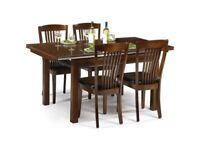 *FAST & FREE UK DELIVERY* Julian Bowen Extending Dining Table and 4 Chairs in Solid Mahogany Wood