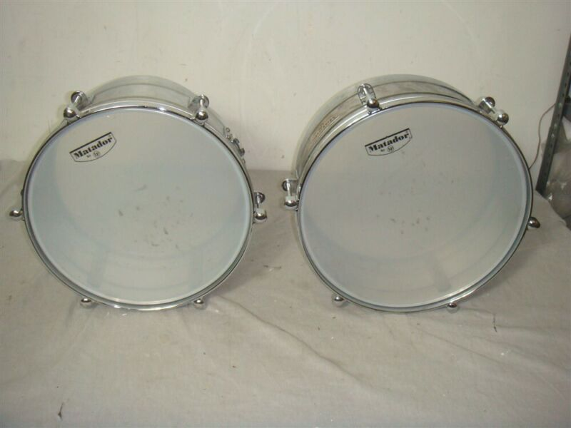 "LP MATADOR CHROME BRASS TIMBALES DRUMS 14"" & 15"""