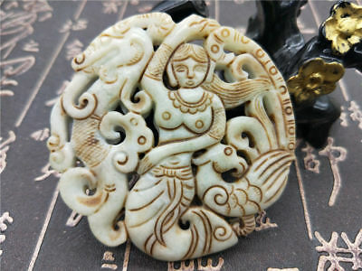 Hand Carved Curio (Chinese Natural hand-carved curio old jade belle dragon phoenix brand Pendant)
