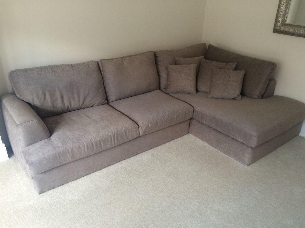 next stratus ii right hand large corner sofa in dark mink antique velvet in newport gumtree. Black Bedroom Furniture Sets. Home Design Ideas