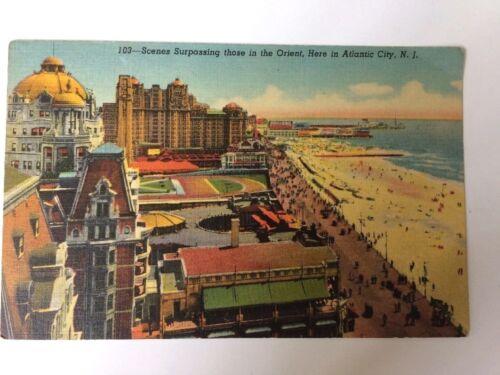 Vtg Linen Postcard Scenes Surpassing Those in the Orient in ATLANTIC CITY N.J.