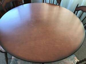 Round timber dining table and 6 chairs West End Brisbane South West Preview