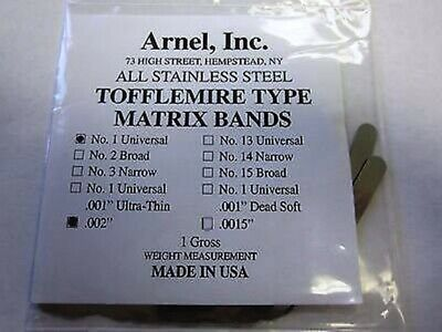 Stainless Steel Tofflemire Matrix Bands 1 .002 Universal Pk144 951-6085