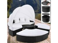 **FREE & FAST UK DELIVERY** Modern Black Poly Rattan Round Garden Day Bed Lounge Sofa Set