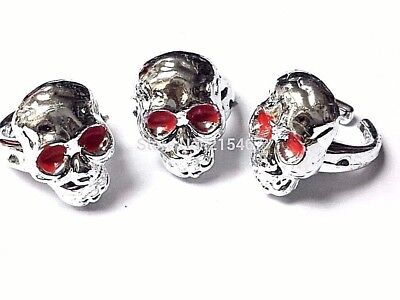 Skull Silver Rings Plastic Pirate Biker Halloween Jewelry Party Favors Charms  - Plastic Skull Rings