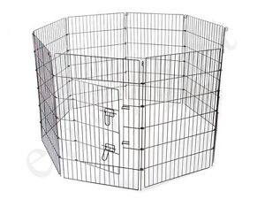 Metal-Play-Run-Cage-Pet-Dog-Puppy-Pen-Rabbit-Guinea-Pig-Cat-Black-New