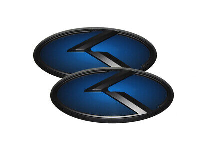 3D K Logo Black & Blue Edition Emblem 2pc SET For Kia Ceed 2011-2018