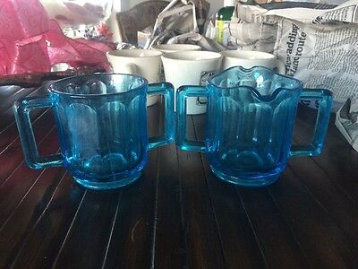 Vintage Blue Glass  Creamer And Sugar