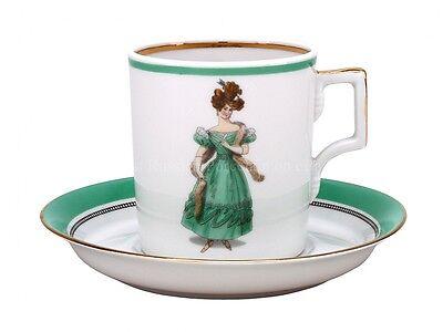RUSSIAN Imperial Lomonosov Porcelain Cup Saucer Modes de Paris 1830 Fashionable