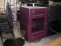 Two burgundy red swivel tub chairs / armchairs