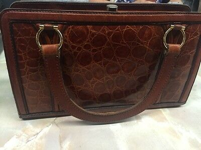 Genuine Vintage/Antique Alligator Leather Hand Bag Purse Brown Ladies Argentina