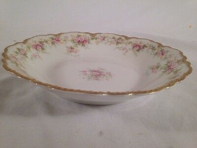 Theo Haviland LIMOGES 1904-25 Coupe Soup Bowl Pink Morning Glory Schleiger 855B