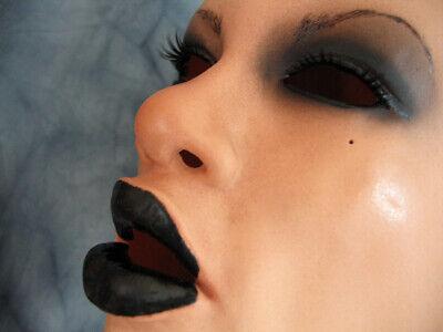 Latexmaske DARK ANGEL +WIMPERN Frauenmaske Crossdresser MTF Trans Emo Goth Frau