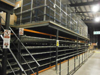 Mezzanine Floor 420sq.M 4.8 Knm2 Loading Capacity 3x Stairs Pallet Gate Rail Barrier