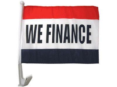"(2 Pack) 12x18 We Finance RWB Car Window Vehicle 12""x18"" Premium Quality Flag"