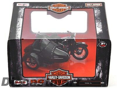 MAISTO 03174 HARLEY DAVIDSON 1948 FL with SIDE CAR MOTORCYCLE 1:18 BLACK