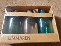 IKEA limmaren - 3 Glass Bottles with 1 bottle spout, brand new - sealed in box