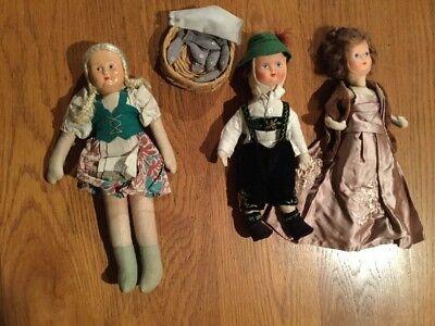 "Three Vintage Cloth Dolls 10"" - 12"".  1940/50s"