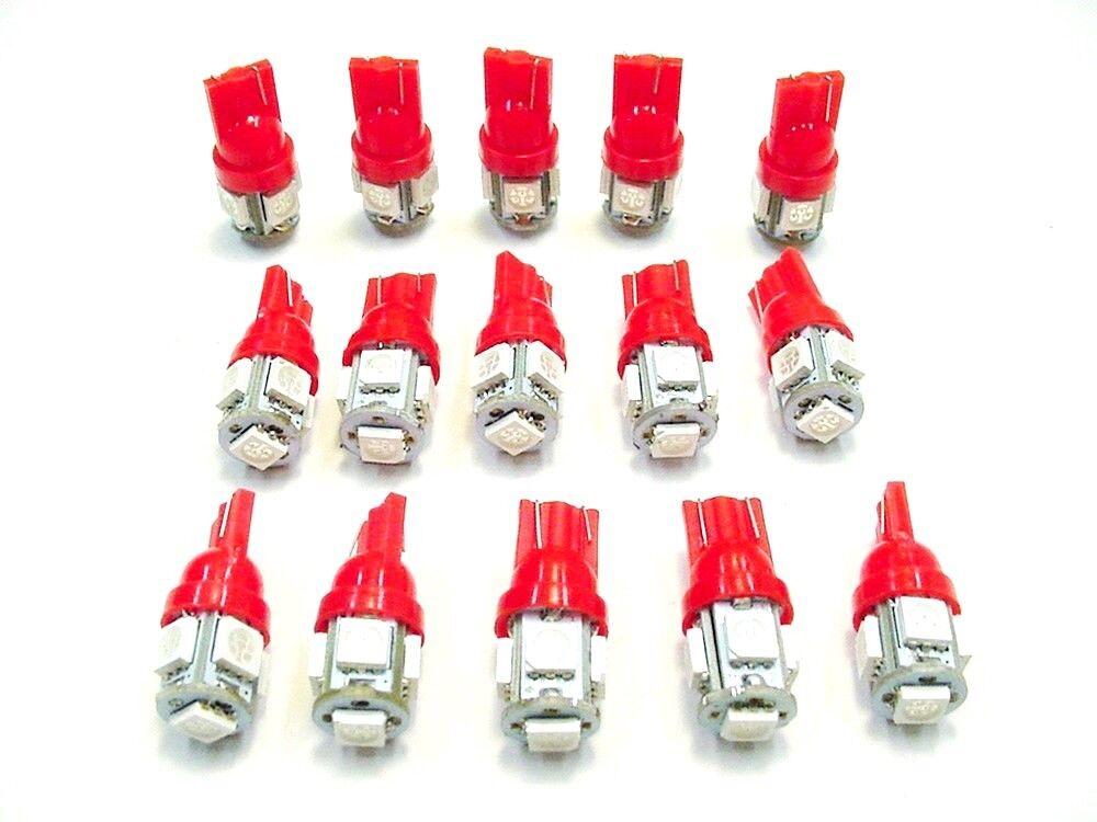 15 BRIGHT Red 5 LEDs 12V Side Marker License Plate Clock Dash Lights Bulbs Ford