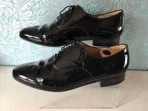 Mens Sanders Black Patent Leather Dress Shoes Size 12