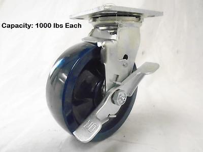 6 X 2 Swivel Caster W Brake Solid Polyurethane Elastomer Wheel Tool Box