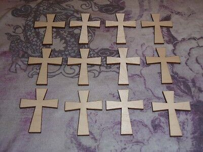 Wood Crosses Unfinished Wooden Craft Shapes 12pcs #C02-019 Artistic Craft Supply