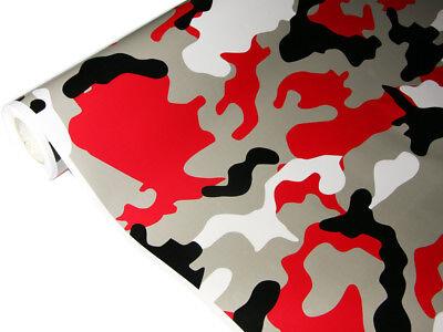 Camouflage Autofolie 50cm x 152cm Luftkanäle Schwarz Grau Rot Weiß #19