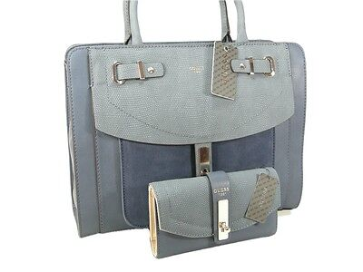 Guess Purse Satchel Hand Bag Cross Body & Wallet Set 2 Piece Matching Blue NWT