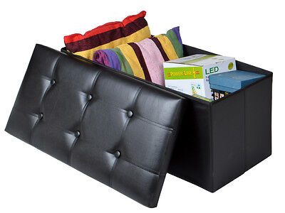 Sulky Faux Leather Storage Foot Rest Sofa Ottoman Bench Folding Footrest Stool