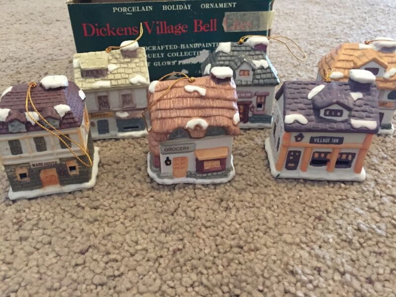 6 Dickens Village Bell Lites With Box Christmas Ornaments