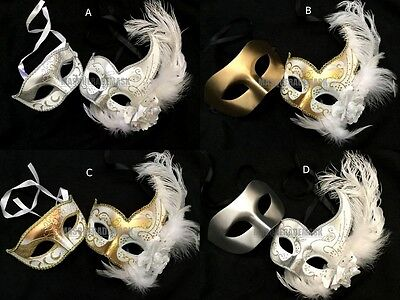 White Dress Party Feather Masquerade ball mask pair Bridal Wedding Event Dance