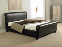 Sleigh Style Double Bed - Faux leather dark brown