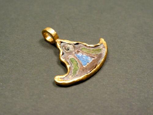 EGYPTIAN ENAMELED GOLD & BRONZE LOTUS SHAPED PENDANT LATE PERIOD 716-30 BC