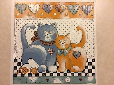 Vintage T-shirt Heat Transfer I Love Cats Button Patchwork Cats