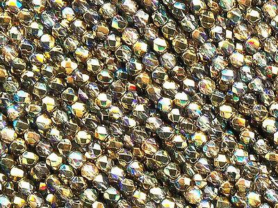 600 Preciosa Czech Glass Fire Polished Beads 4mm Crystal Golden Aurum Rainbow