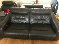 2 seat Electric reclining sofa, electric reclining arm chair & footstool with in built storage.