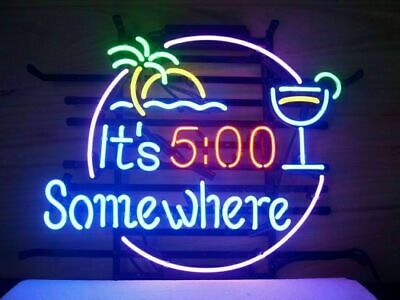 New Its 500 Oclock Somewhere Some Where Palm Tree Neon Sign Beer Bar Light