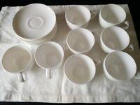 John Lewis Contour white bone china cup and saucer set of 8