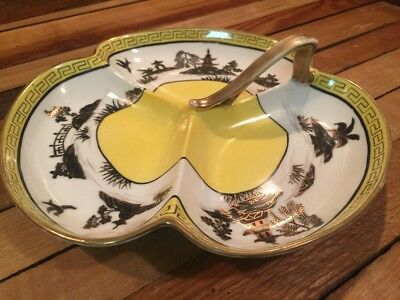 ART DECO JAPANESE NIPPON HAND PAINTED HANDLED DIVIDED PORCELAIN DISH NAPPY