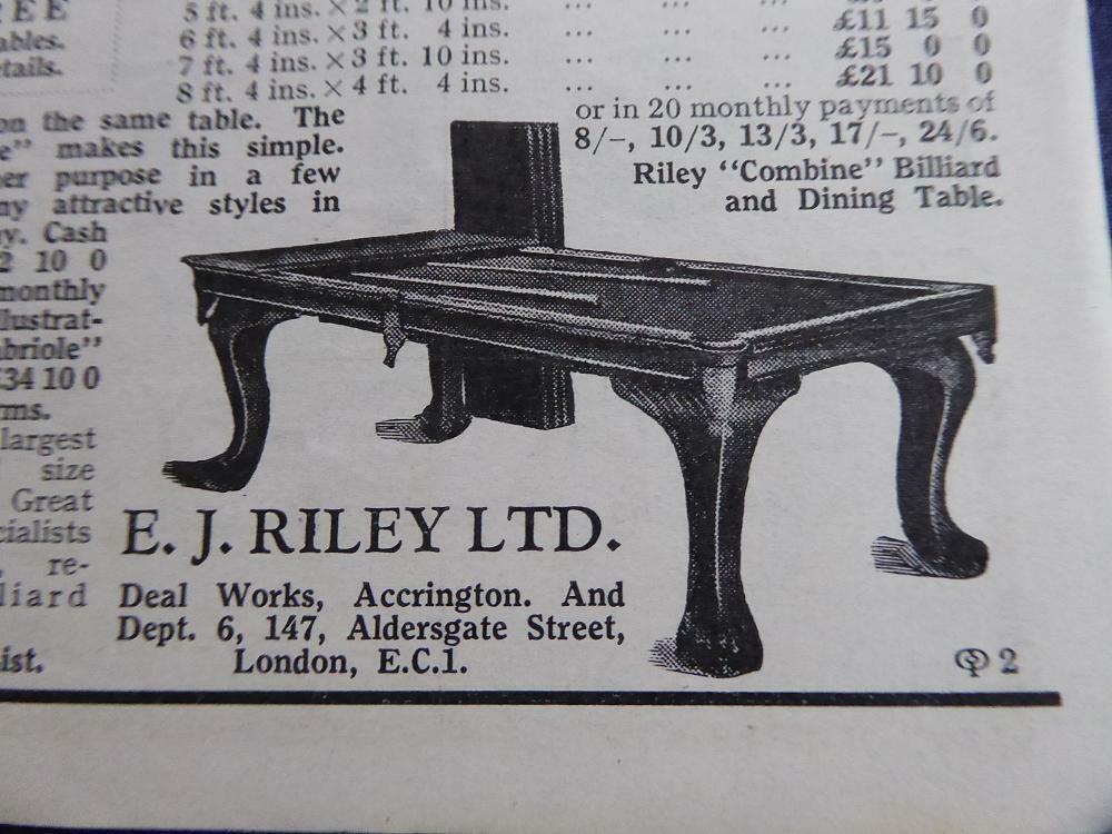 E J RILEY BILLIARD TABLE ADVERT 1934 HIGHLY ORIG ADVERT SNOOKER BILLIARDS TABLE